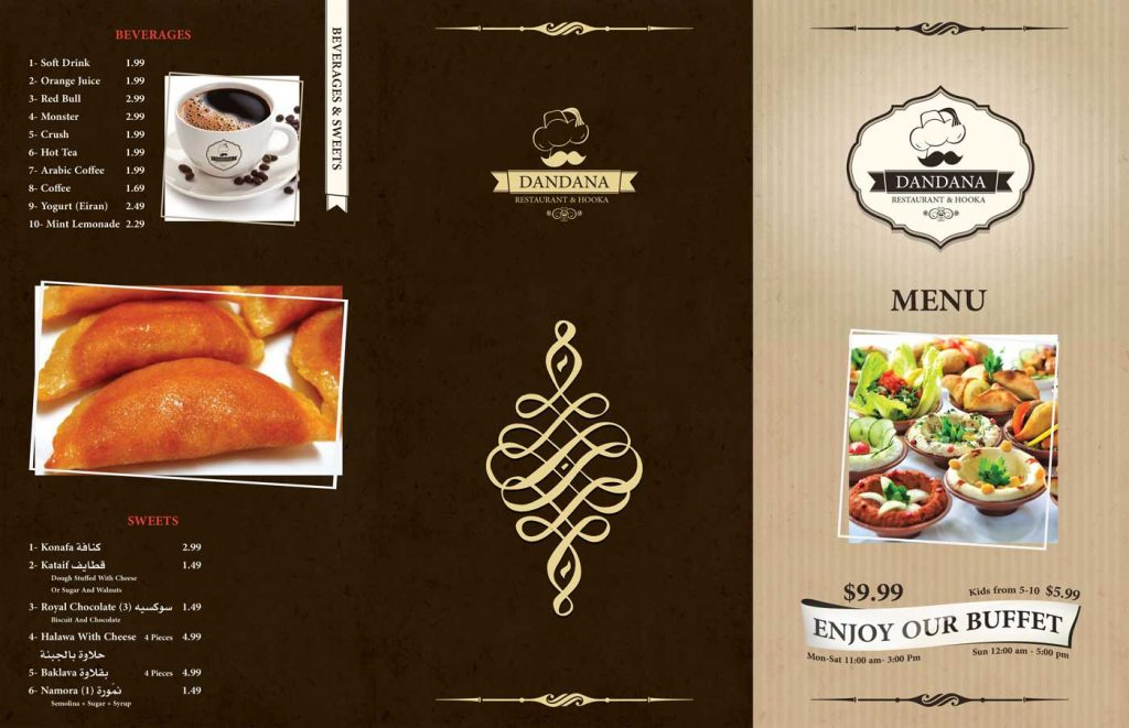 The front side design of Dandana restaurant menu