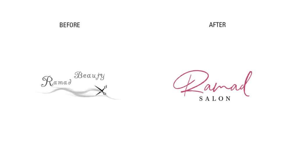 Ramad salon rebranding logo before vs after